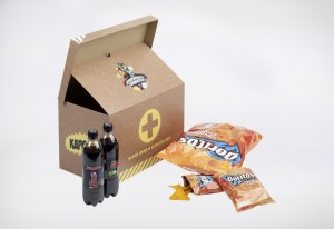 Team survival kit, including Doritos and Pepsi Max to put some real fizz back into the team.